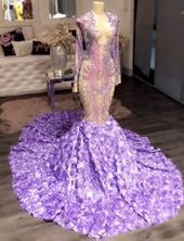 Purple Plunge Long Sleeve Rose Mermaid Prom Dress This fabulous purple prom dress, made from sparkly sequin, features sexy plunging V neckline top with long sleeves. The roses train on the mermaid skirt adds charm. Black Girl Prom Dresses, Senior Prom Dresses, Gorgeous Prom Dresses, Cute Prom Dresses, Prom Outfits, Mermaid Prom Dresses, Mermaid Skirt, Dress Prom, Casual Outfits