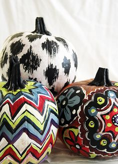 Painted Pattern Pumpkins (I'm totally chevron striping some pumpkins this year!)