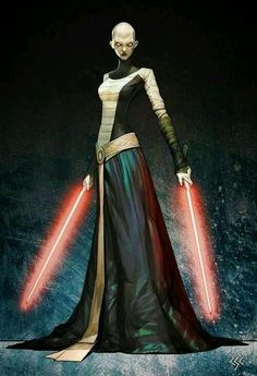 Asajj Ventress: Was a female Jedi & a valuable Acolyte to Count Dooku. Originally a Nightsister from Dathomir, Ventress was taken as a slave to Rattatak & trained as a Jedi Padawan by Jedi Knight Ky Narec. However, after Narec was slain, Ventress gave into her anger & began walking the path of the dark side taking up the lightsaber of her dead master, she trained herself in the Jar'Kai style of lightsaber combat, before slaying all the warlords on Rattatak and installing herself as ruler.