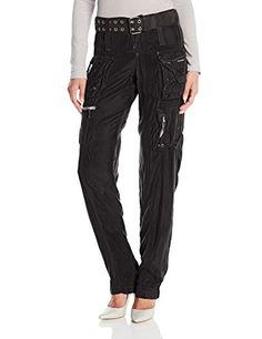 Johnny Was Women's Marika Cargo Pant with Belt, Black Edge, 10 ** You can find more details by visiting the image link.