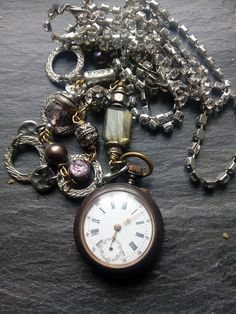 Sale, pocket watch assemblage necklace, unique statement pendant, recycled watch parts, steampunk, pearls, ooak, reused repurposed, Watch Necklace, Bracelet Watch, Alternative Style, Pocket Watch Antique, Rhinestone Necklace, Unique Necklaces, Second Hand, Steampunk Fashion, Fashion Necklace