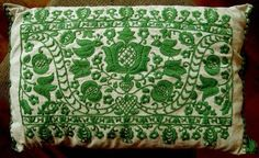 Gorgeous Green Embroidery applejarmexicanfolkartpillowgreen
