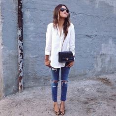 cutie @Julie Williams working a classic look in a white button-down and #currentelliott jeans #regram #ootd #Padgram