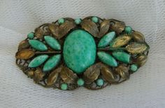 VINTAGE-EDWARDIAN-ART-DECO-NEIGER-BROTHER-PEKING-GLASS-BROOCH-S-R