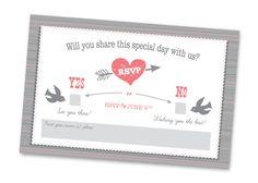 Retro love birds wedding invitation design