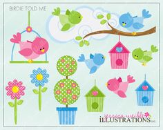 Birdie Told Me Cute Digital Clipart for Card Design, Scrapbooking, and Web Design. $5.00, via Etsy.