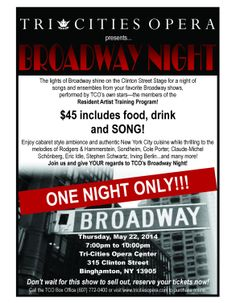 "The lights of Broadway shine on Clinton Street for one night of hit songs from all your favorite shows performed by all your favorite TCO stars, Rebecca Heath, Melanie Leinbach, Perry Harper, Hee-Pyoung Oh with special Guest Artists including Will Roberts! TCO Assistant Music Director, Michael Lewis at the piano. Cabaret style atmosphere with food, drink & entertainment included in the ticket price!  ""Give my regards to Broadway...!"""