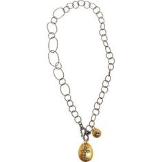 Sara Weinstock- $5,520.  Blackened sterling silver textured, variegated ovular link necklace with two hammered 18k yellow gold pendants with contrast Maltese cross detail set with white diamonds.