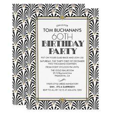 ANY AGE - Birthday Art Deco Gatsby invitation Masquerade Party Invitations, Art Deco Invitations, Bridal Shower Invitations, Custom Invitations, Surprise Birthday Invitations, 60th Birthday Party, New Years Eve Invitations, New Years Party, Gatsby