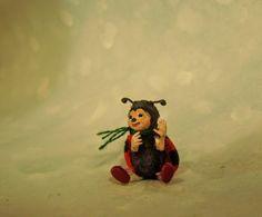 Aleah Klay Studio: Miniature Ladybug art doll sculpture by Aleah Klay...