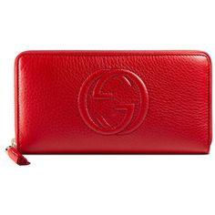 Gucci Soho Red Leather Zip Around Wallet ($540) ❤ liked on Polyvore featuring bags, wallets, wallet, accessories, red, women, embossed leather bag, red zip around wallet, gucci wallet and red leather bag