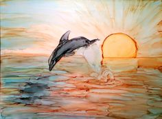 Sunset swim in alcohol Ink by me, Laurie Henry. Copyright 2013.
