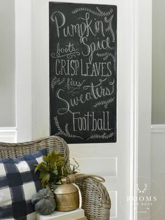 Fall Home Tour - love Bre's fall inspired chalkboard door!