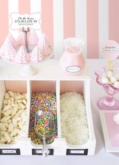 Pretty ice cream topping station for a party