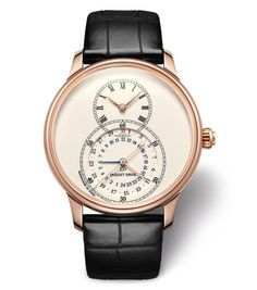 Jaquet Droz Grande Seconde Dual Time, red gold case and ivory enamel dial