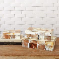 """Sierra Horn Box-Available in three sizes. Lg       12.25""""L x 7.5""""W x 3.5""""H -Med       10.25""""L x 5.75""""W x 3""""H  -Sm       7.25""""L x 5.25""""W x 2.5""""H     Tiles of water buffalo horn cover the surface of the Sierra boxes. (GV)"""