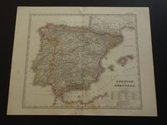 """Antique map of Spain and Portugal - original 1872 hand-colored print - old vintage poster about Spanje Spanien España Espagne Spagna 14x18"""" by DecorativePrints on Etsy"""