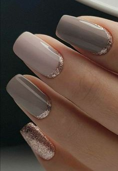 Can never go wrong with neutral colors, and cool silver glitter border at bottom of nail. #affiliate #GlitterHair
