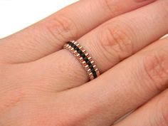 Skinny ring Minimalist peyote ring Copper and by HappyBeadwork