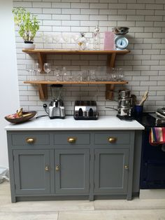 Handmade bespoke kitchens hand painted to plummet! Kitchen Units, Kitchen Cabinet Design, New Kitchen, Kitchen Paint Colors, Painting Kitchen Cabinets, Paint Colours, Country Furniture, Home Decor Furniture, Furniture Ideas