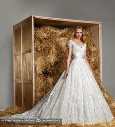 zuhair murad spring 2015 cap sleeve wedding gown