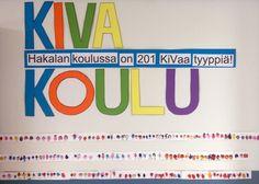 KiVa Koulu - koko koulun yhteinen KiVa Koulu työ koulun käytävään.