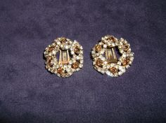 Vintage Clip On Earrings Topaz & White Rhinestone Wreathes Goldtone Clip Earring Fashion Earrings Clip-On Wreath Gold Costume Jewelry Amber by MyLifeIsAHighway on Etsy