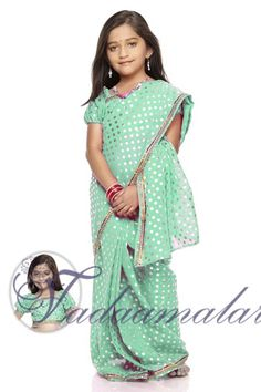 Girls Kids Childrens Readymade Pre-pleated India Indian saree costume