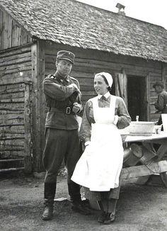 Soldier with Lotta Svard member