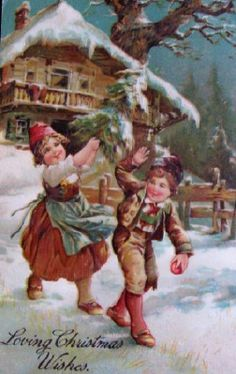 Loving Christmas wishes. #vintage #Christmas #cards
