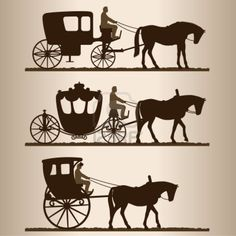 Silhouettes of horse-drawn carriages with riders. Two-wheeled and four-wheel carriage.   Illustration.   Stock Photo