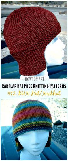Earflap Hat Free Knitting Patterns - Crochet & Knitting Neckflap BUN Hat Free Knitting Pattern - Knit Earflap Hat Free Patterns Always aspired to discover how to knit, however . Crochet Hat Earflap, Crochet Headband Free, Knitted Hats, Crochet Hats, Free Crochet, Knit Hat With Brim, Knitted Balaclava, Earflap Beanie, Slouchy Beanie