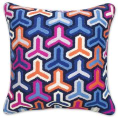 Jonathan Adler Pink And Blue Bargello Hazard Pillow in All Pillows & Throws
