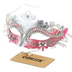 Metal Lasercut Venetian Mask with Crystals on Eyes Pink *** Continue to the product at the image link.