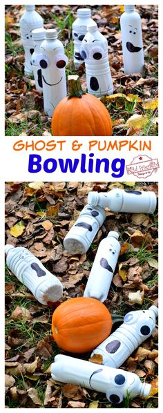 This DIY Pumpkin Bowling Game is so much fun for the kids. This is a great game for a Halloween Classroom Party or Fall Harvest Party. Classroom Halloween Party, Halloween Activities For Kids, Adult Halloween Party, Halloween Birthday, Outdoor Halloween, Diy Halloween Party Decorations, Halloween Carnival, Classroom Party Ideas, Toddler Halloween Games