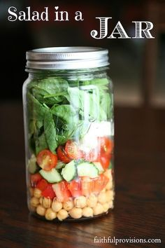 A salad in a jar looks so pretty & they're great to take on a picnic, to take to work—to take anywhere!