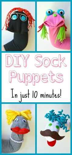 These sock puppets are so easy and a ton of fun! Perfect DIY project for kids These sock puppets are so easy and a ton of fun! Perfect DIY project for kids Diy Projects For Kids, Diy For Kids, Sewing Projects, Crafts For Kids, Arts And Crafts, Sewing Ideas, Sock Crafts, Puppet Crafts, Crafts With Socks