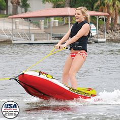 EZ SKI TRAINER PUTS THE FUN BACK INTO TEACHING YOUNG SKIERS!  Heading for the lake but dreading the task of teaching another young skier? AIRHEAD EZ SKI to the rescue! EZ Ski is a revolutionary inflatable water ski hybrid with integrated wooden water ski trainers and ski bindings.