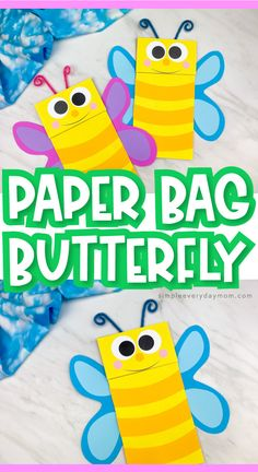 Make this colorful and easy paper bag butterfly craft with the kids this spring! It comes with a free printable template too. Make it with preschool, kindergarten Kindergarten Crafts, Classroom Crafts, Preschool Crafts, Preschool Letters, Paper Bag Crafts, K Crafts, Spring Crafts For Kids, Easy Crafts For Kids, Craft Kids