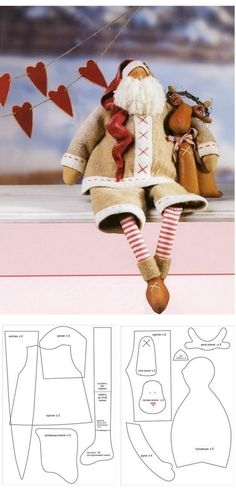 Santa cloth doll pattern                                                                                                                                                     Mais