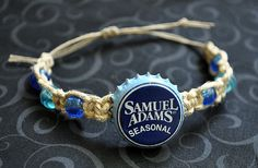 Sam Adams Beer Recycled Bottle Cap Hemp Bracelet, Men's bracelet, unique jewelry, beer cap bracelet, hemp jewelry