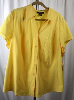 Style & Co Womens Cap Sleeve V Neck Button Front Stretch Yellow Top 20W NWT #StyleCo #Blouse #Versatile