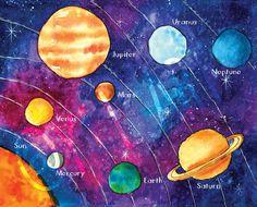 Solar System Nursery Wall Art Print - Watercolor Print Easy Watercolor, Watercolor Print, Sistema Solar, Solar System Painting, Solar System Projects For Kids, Art Lesson Plans, Pretty Art, Elementary Art, Solar System Model
