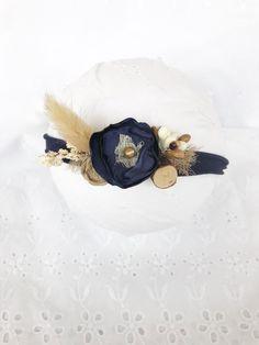 Kids Headbands, Flower Headbands, Newborn Tieback, Navy Flowers, Newborn Photography Props, Woodland Baby, Handmade Flowers, Photo Props, Hand Crafts