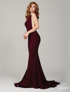 Jovani Prom 37592. Elegant sleeveless jersey dress with a plunging back. Burgundy.