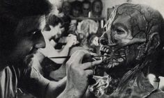 """Rick Baker working on the mask for """"The Incredible Melting Man"""" (1977)"""