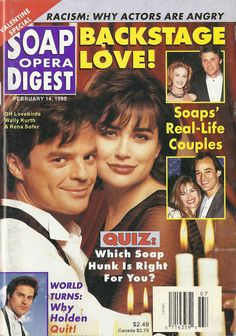 classicsodcovers:  Classic SOD Cover Date: February 14, 1995 Wally Kurth & Rena Sofer (Ned & Lois, GENERAL HOSPITAL)(right top inset) Laura Leighton & Grant Show (Sydney & Jake, MELROSE PLACE)(right bottom inset) Eileen Davidson (Kristen, DAYS OF OUR LIVES) & Jon Lindstrom (Ryan, GENERAL HOSPITAL)(bottom inset) Jon Hensley (Holden, AS THE WORLD TURNS)