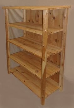 Rustic Log Handcrafted Furniture | ... shelving log cedar and pine 4 ft w x 6 ft h x 22 in d no sides log