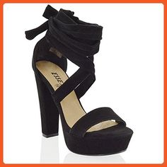 aa92ee3d00fd Essex Glam womens black faux suede tie up high block heel sandals 7 B(M