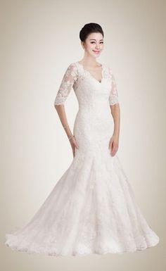 Fantastic Mermaid V-neck Sweep Train Lace Wedding Dress with Half Sleeves